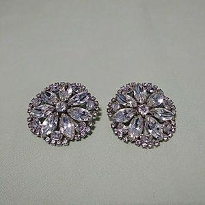 Weiss Rhinestone Earrings Clip On